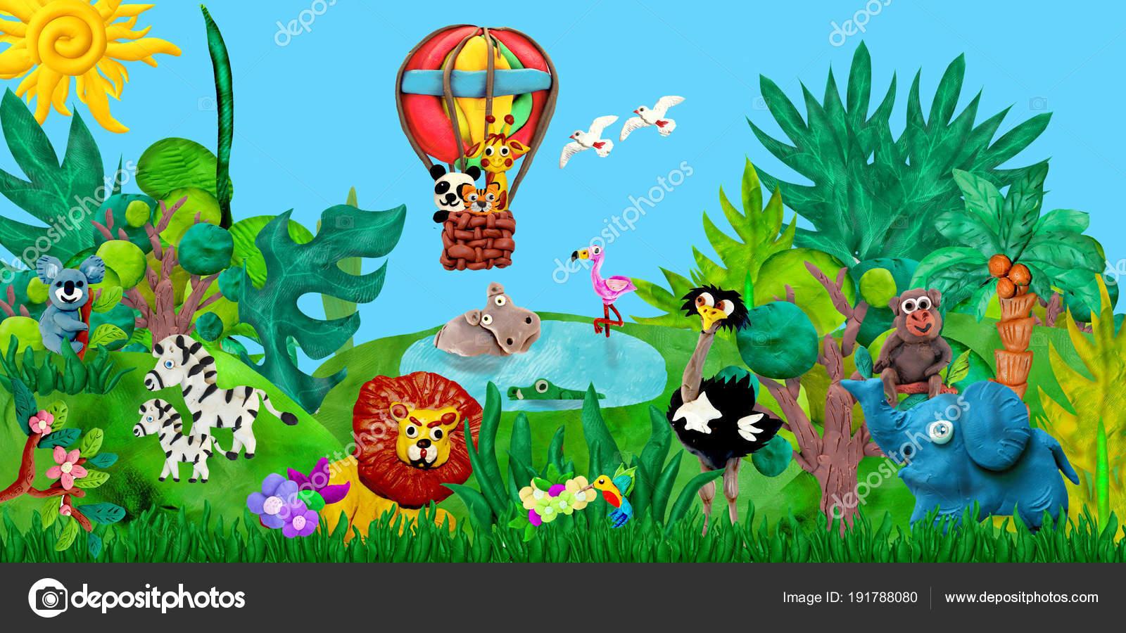 Viajando Por Aire Globo Zoo Animales Renderizado Niños