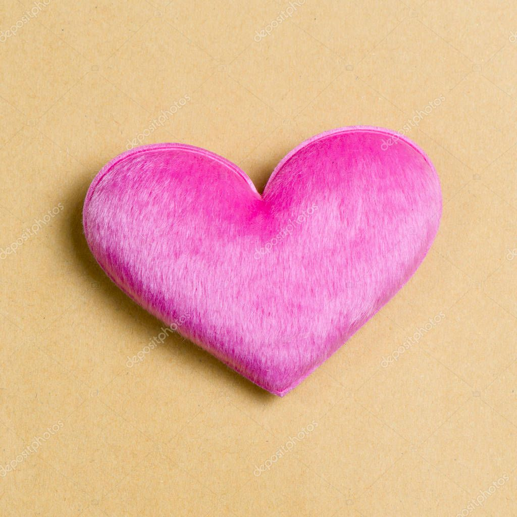 Pink hearts on recycle paper background