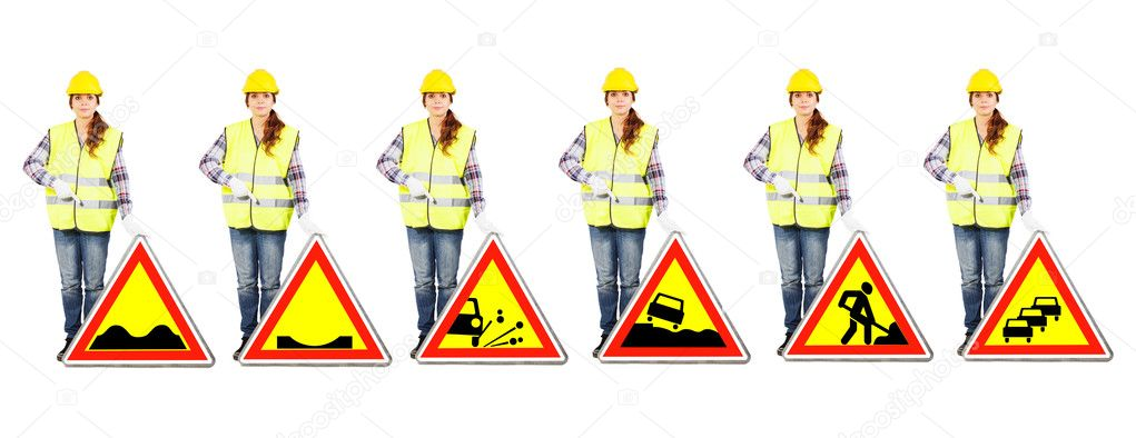 set girl worker in a construction helmet and yellow vest stands near different road signs of temporary dangers or roadworks conditions isolated photo by