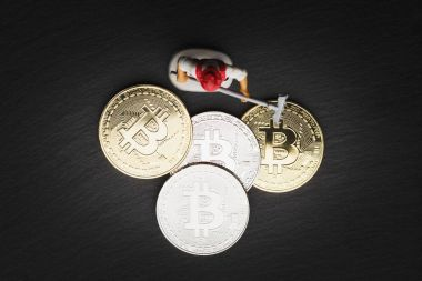 Bitcoin, the digital currency, soft focus background