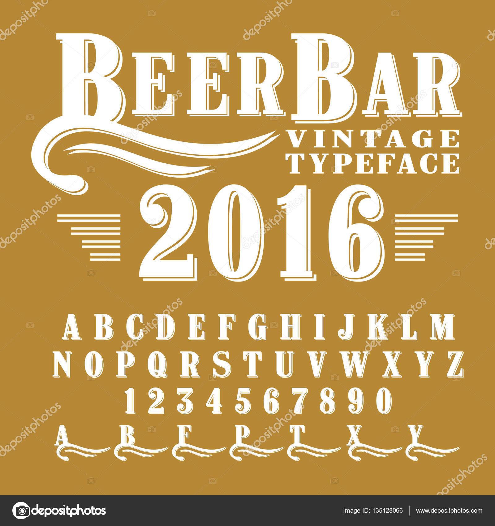 Beer Bar - vintage script font — Stock Vector © bowxwod