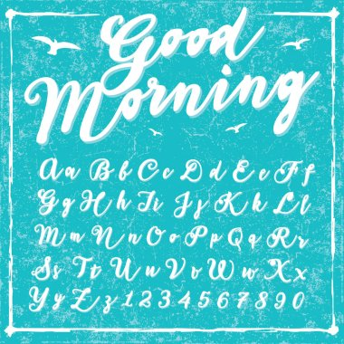 Script handwriting font - Good Morning - vector alphabet. Hand drawn letters.Script handwriting font - Good Morning - vector alphabet. Hand drawn letters. stock vector