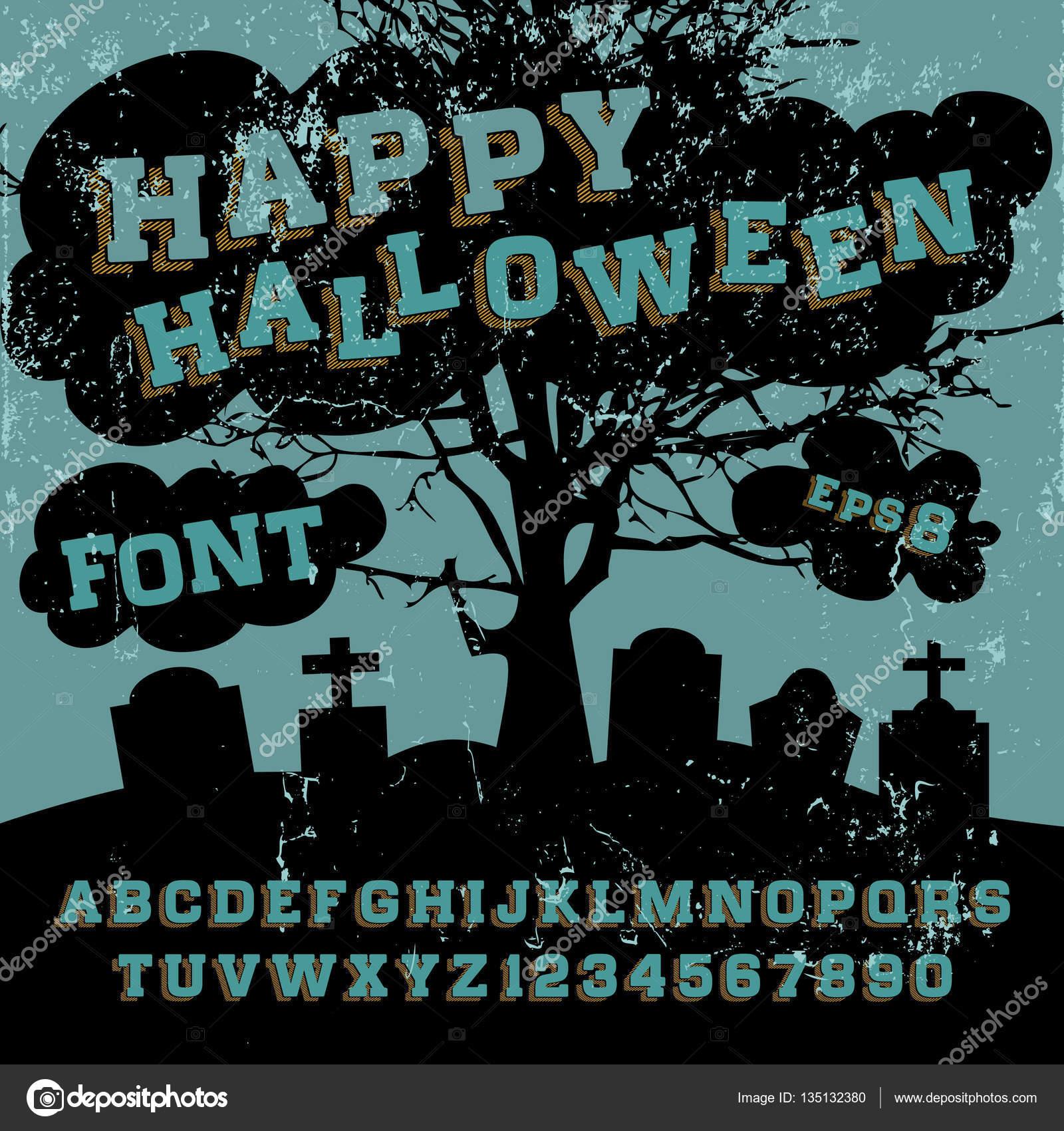 Happy Halloween typeface, — Stock Vector © bowxwod #135132380