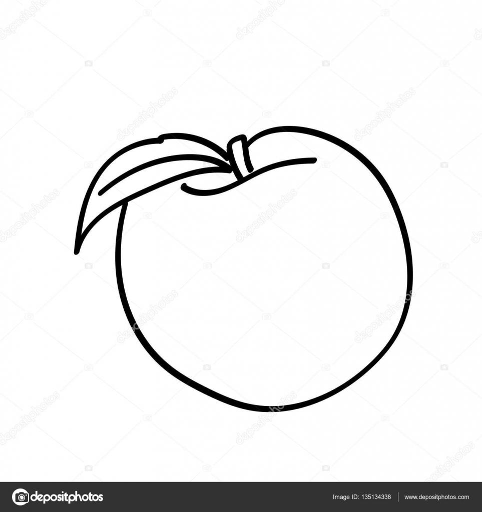 hand gezeichnet apfel mit blatt — stockvektor © bowxwod