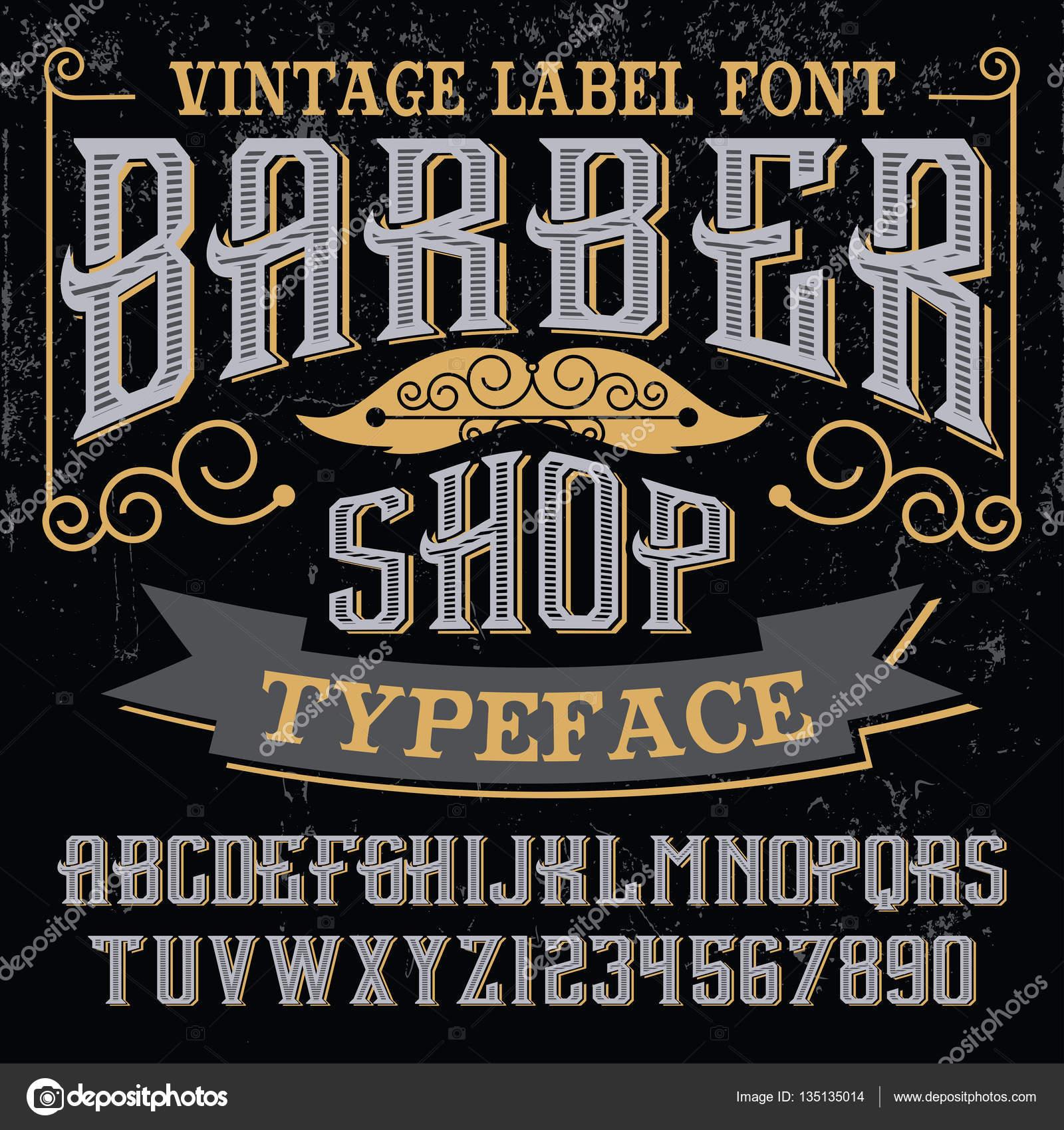 Artesanal de barbearia vintage fonte — Vetores de Stock © bowxwod