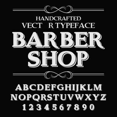 Handcrafted vintage barber shop Font