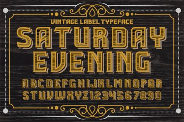 Handrafted font. Saturday Evening