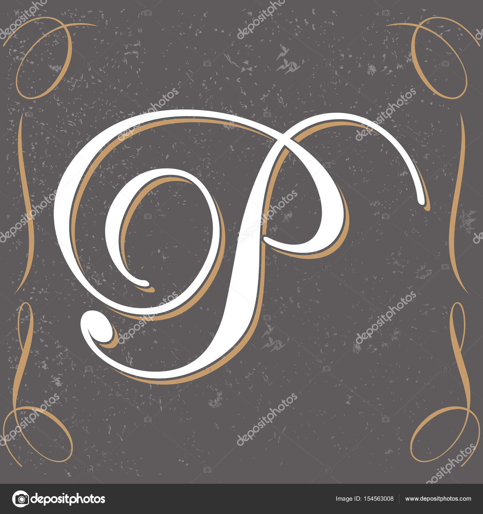 Vintage Letter P Design Stock Vector C Bowxwod 154563008