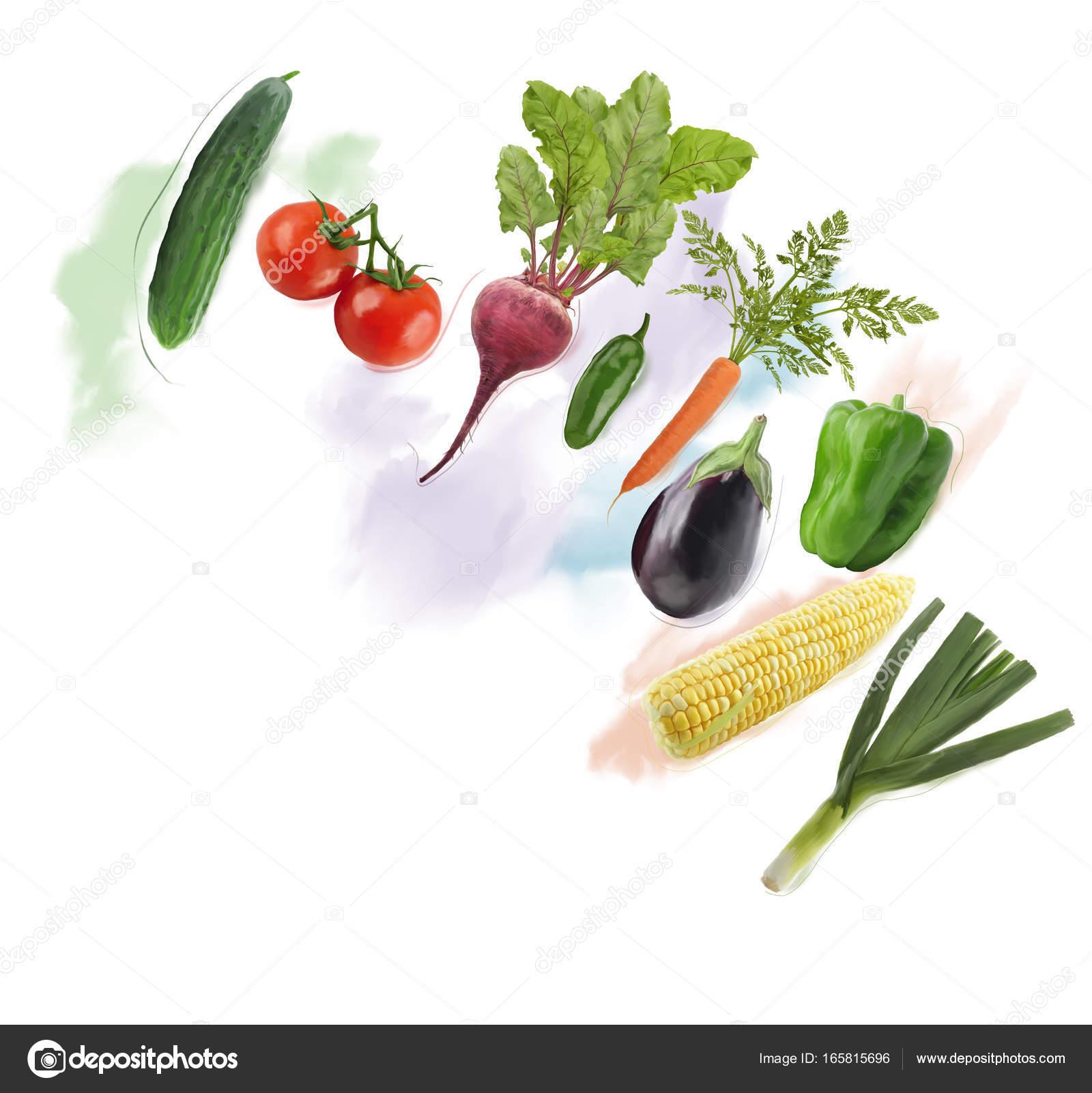 Frisches Gemüse-Aquarell — Stockfoto © svetas #165815696
