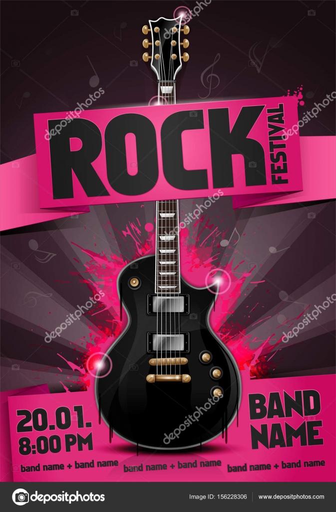 vector illustration pink rock festival flyer design template with