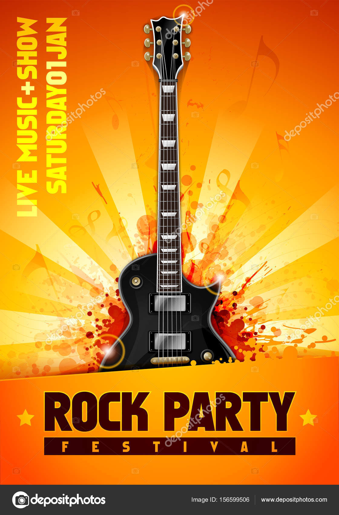 vector illustration orange rock party flyer design template with
