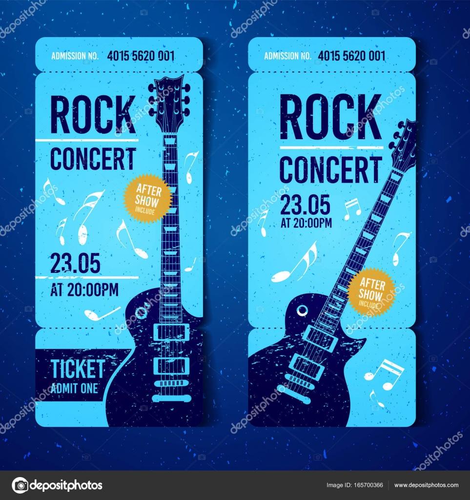 vector illustration blue rock concert festival ticket design