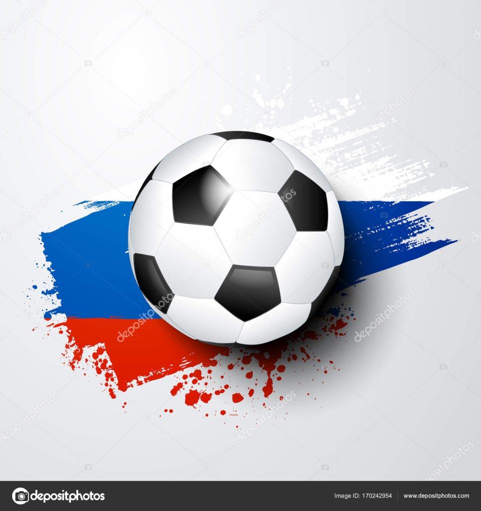 Fußball-WM oder EM mit Ball und Russland Flagge Farben — Stockvektor ...