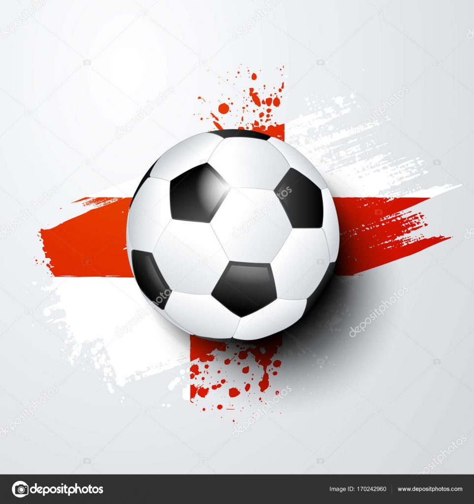 Fußball-WM oder EM mit Ball und England Flagge Farben — Stockvektor ...