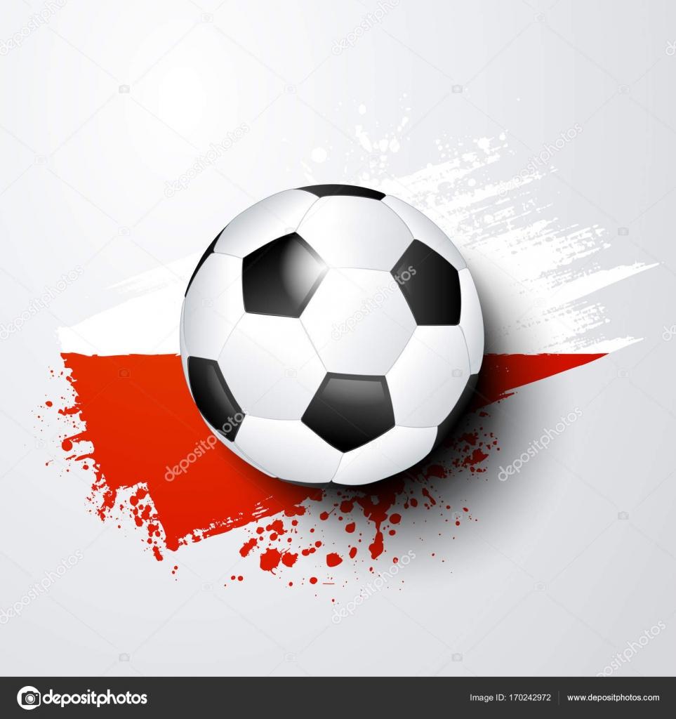 Fußball-WM oder EM mit Ball und Polen Flagge Farben — Stockvektor ...