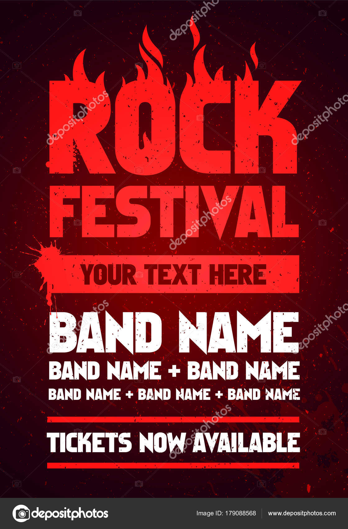 Vector Illustration Red Rock Festival Party Flyer Design Template