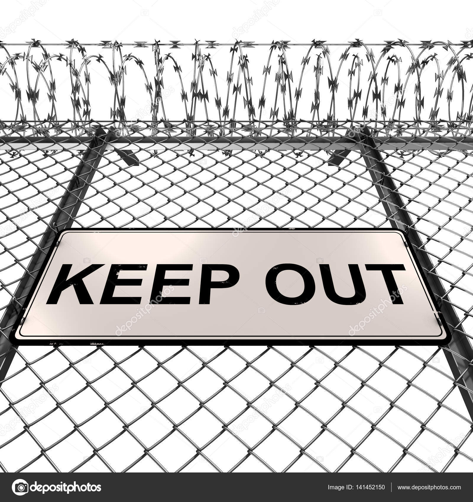 Silver or Steel Fence with Barbed Wire and Keep Out Sign — Stock ...