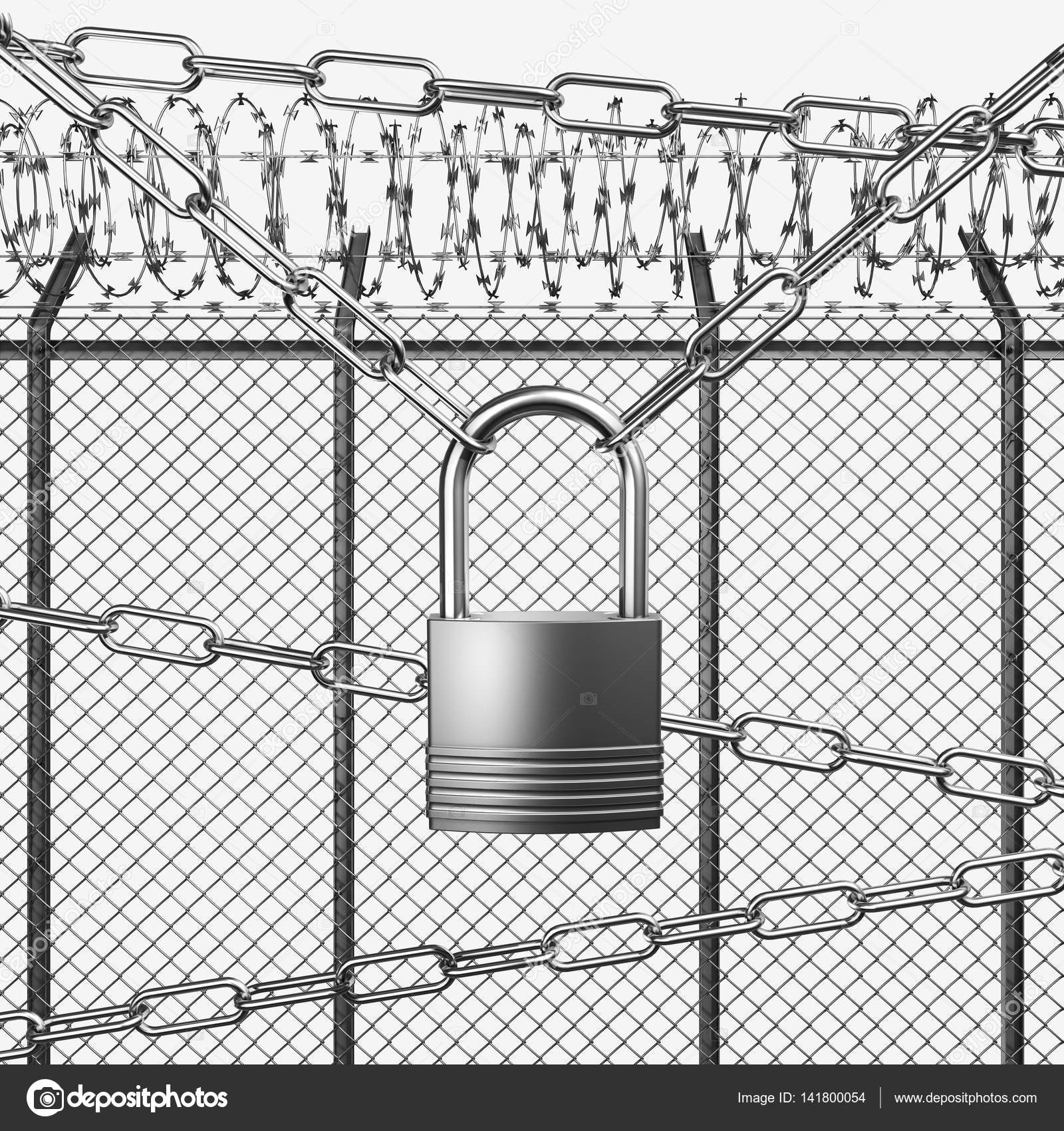 Silver or Steel Fence with Barbed Wire — Stock Photo ...