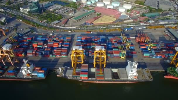 BANGKOK THAILAND - DECEMBER 27: container cargo ship, import export,  business logistic supply chain transportation concept for shipping aerial  view background, 4K, December 27, 2016