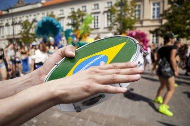 ambourine player on samba parade