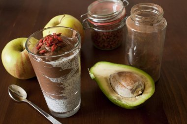 cocoa and avocado smoothie with chia and goji
