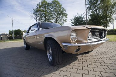 WARSAW, POLAND, May 13: Oldtimer Ford Mustang 302 on Warsaw Auto Nostalgy fair on May 13, 2017 in Warsaw, Poland.