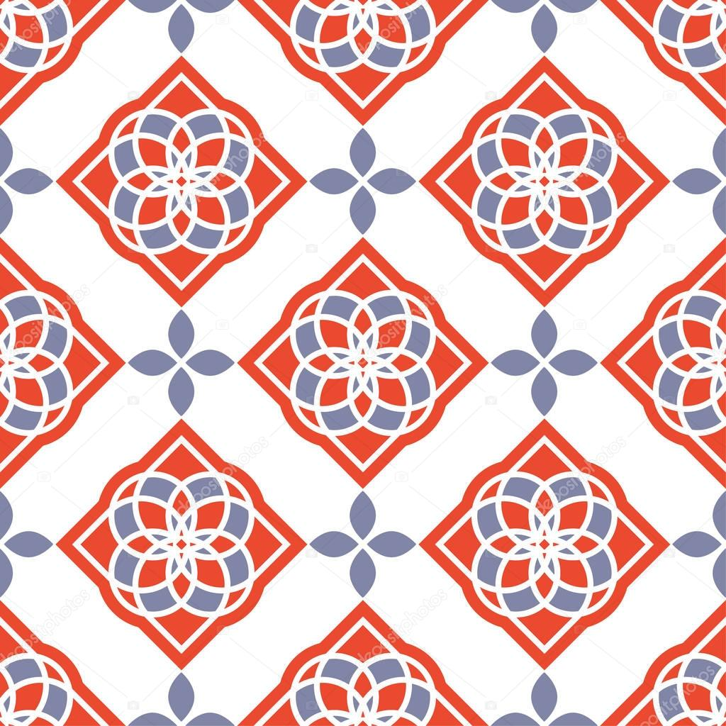 Portuguese azulejo tiles. Red and white gorgeous seamless patterns.