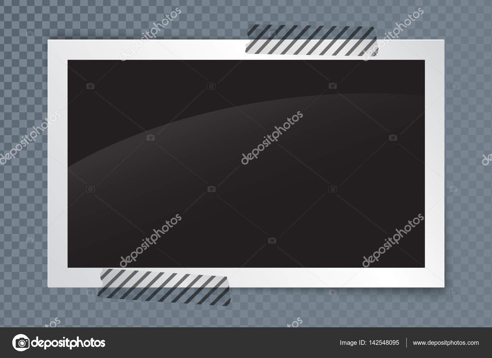 Marco de foto realista con sombra y transparente cinta adhesiva ...
