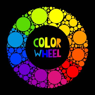 Color wheel palett or color circle isolated on black background. The physical representation of color transitions and HSB. stock vector
