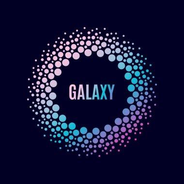 Vector poster Galaxy. Halfton circle frame