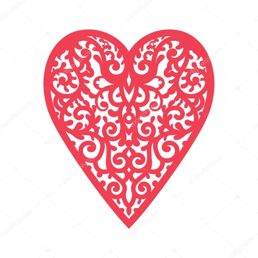 Template heart with flowers for laser cutting, chipboard scrapbooking.