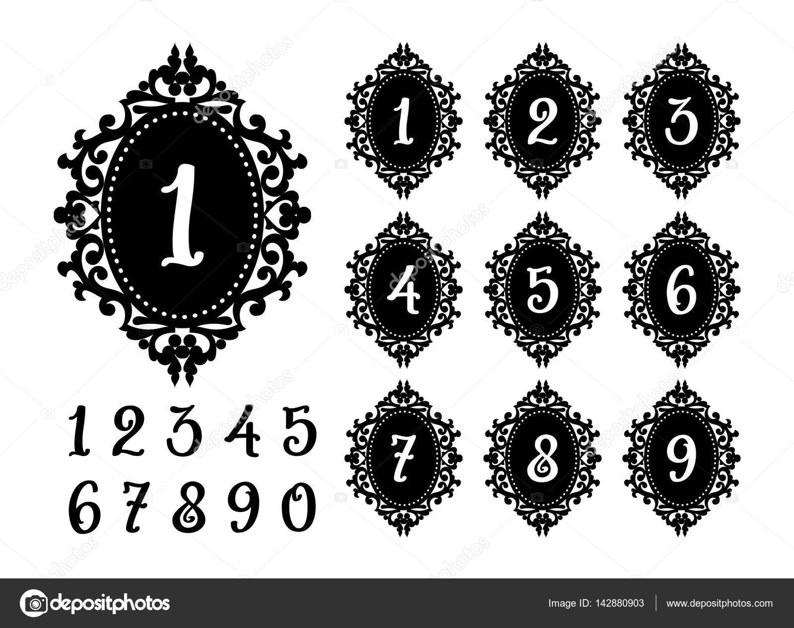 laser cutting numbers template for the festive table stock vector