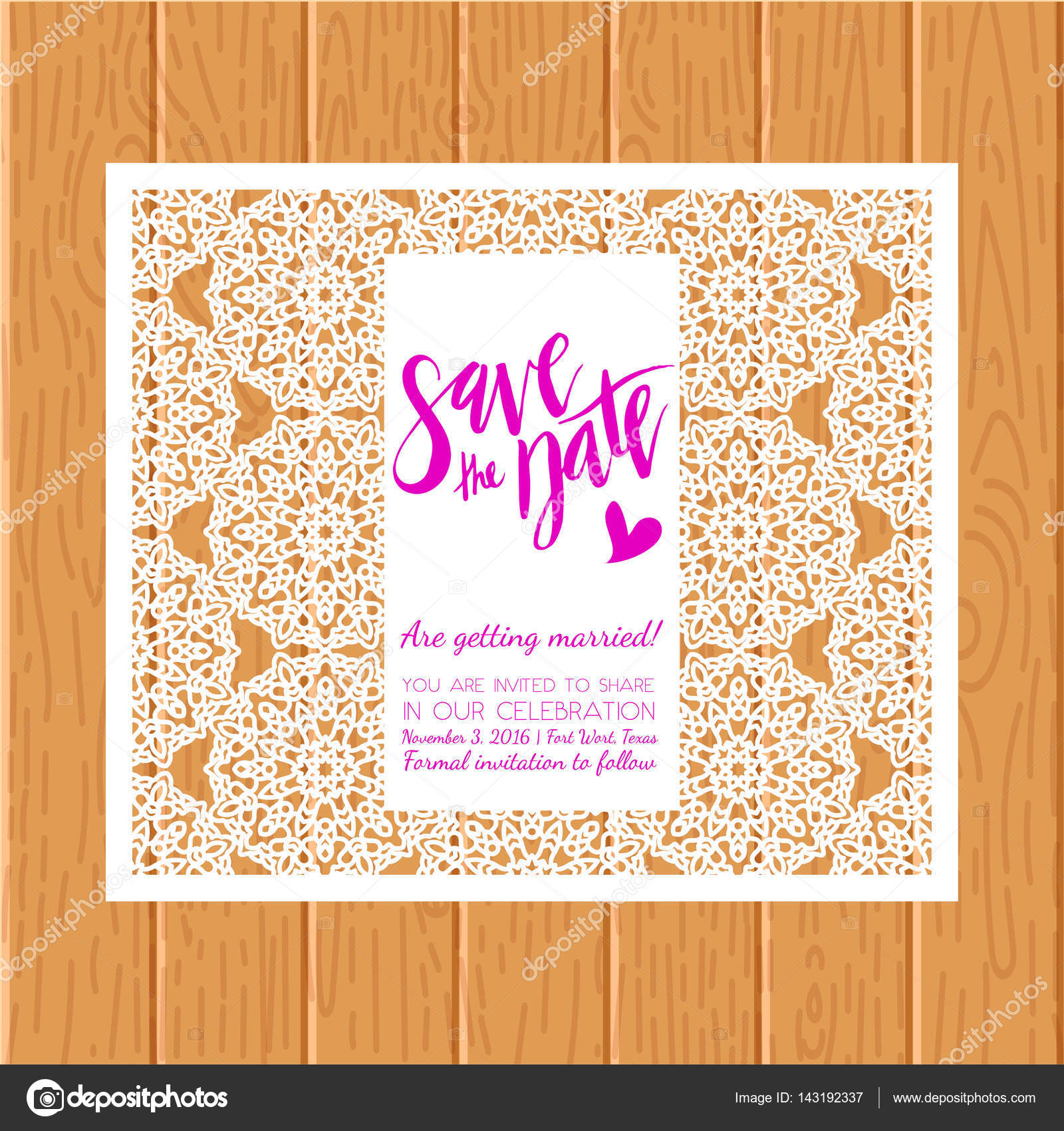 Save the date card Laser cutting pattern — Stock Vector