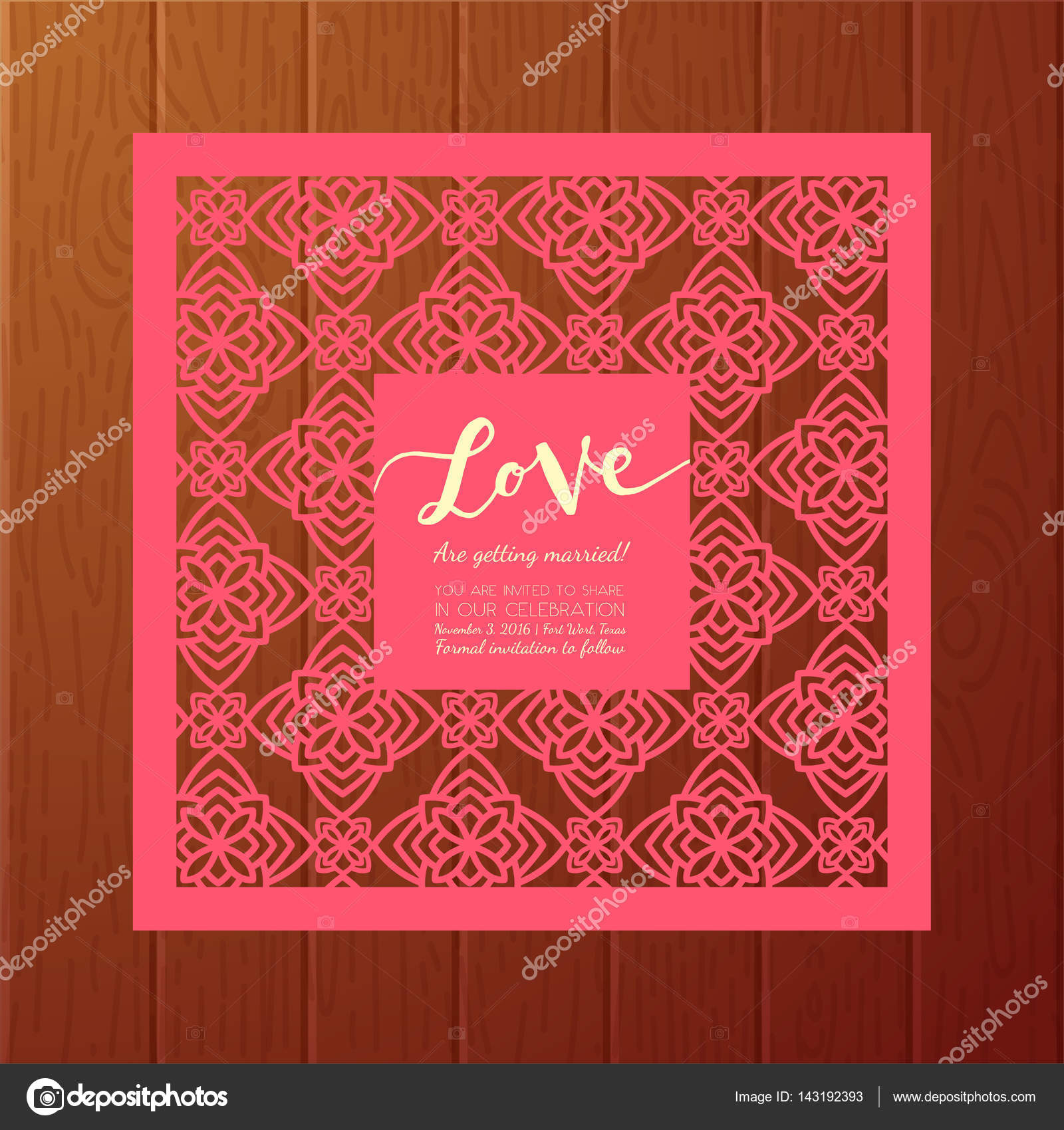 Save the date card. Laser cutting pattern. — Stock Vector ...
