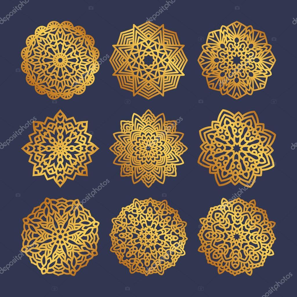 Set of gold mandalas. Indian wedding meditation.