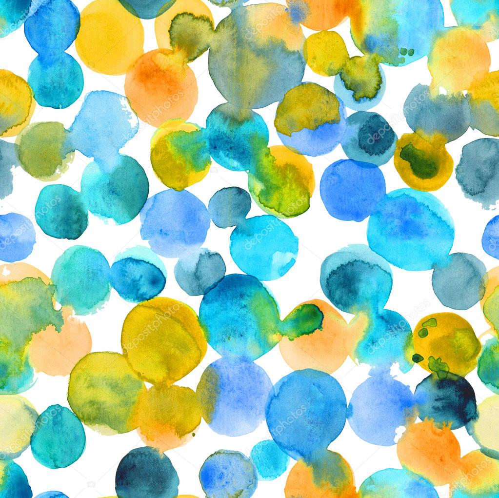 Abstract turquoise watercolor dye seamless pattern