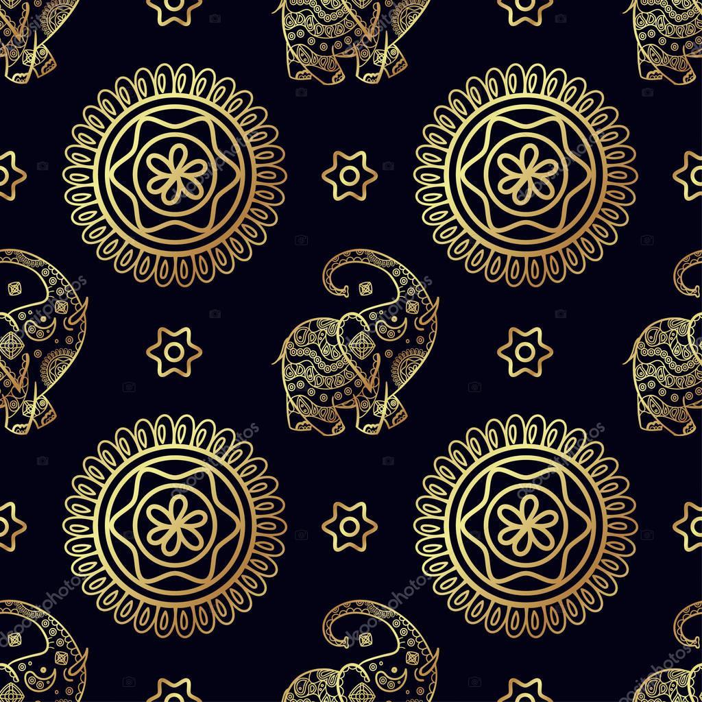 Gold elephant seamless pattern.