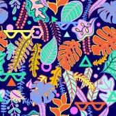 Fotografie Tropischen lebendige tropische Blätter nahtloses Muster