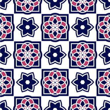 Portuguese azulejo tiles. Blue and white gorgeous seamless patterns. For scrapbooking, wallpaper, cases for smartphones, web background, print, surface textures. clip art vector