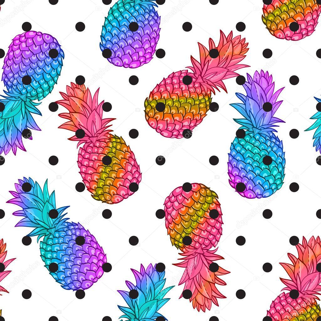 Pineapple creative trendy seamless pattern