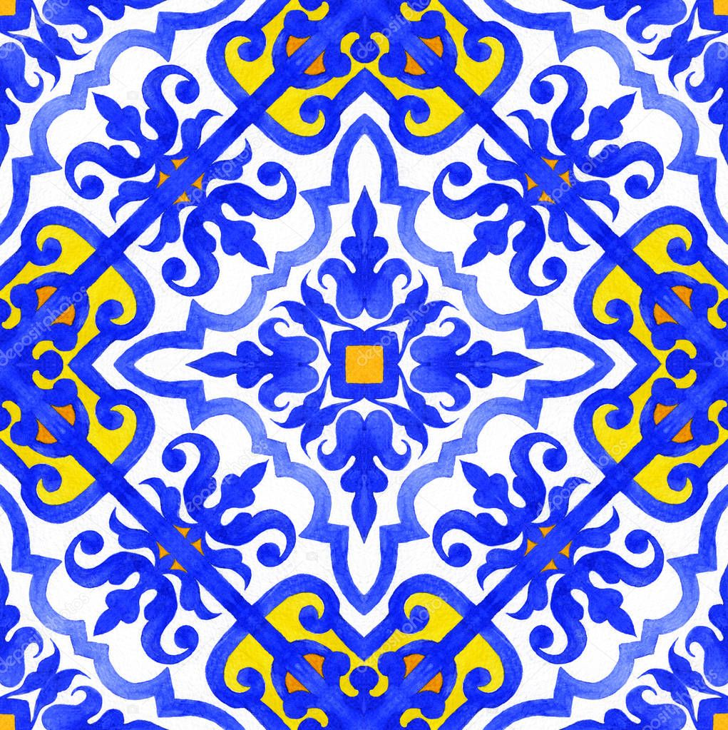 Portuguese azulejo tiles seamless patterns.