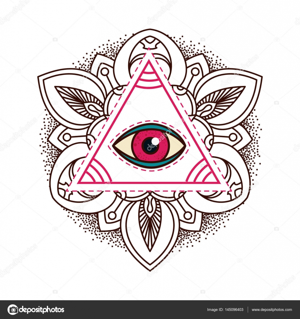 All Seeing Eye Pyramid Symbol Old School Tattoo Mystic Sign Of Alchemy Providence The Occult Magic Freemasonry And Illuminati
