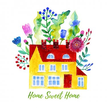 Home Sweet Home. Watercolor illustration