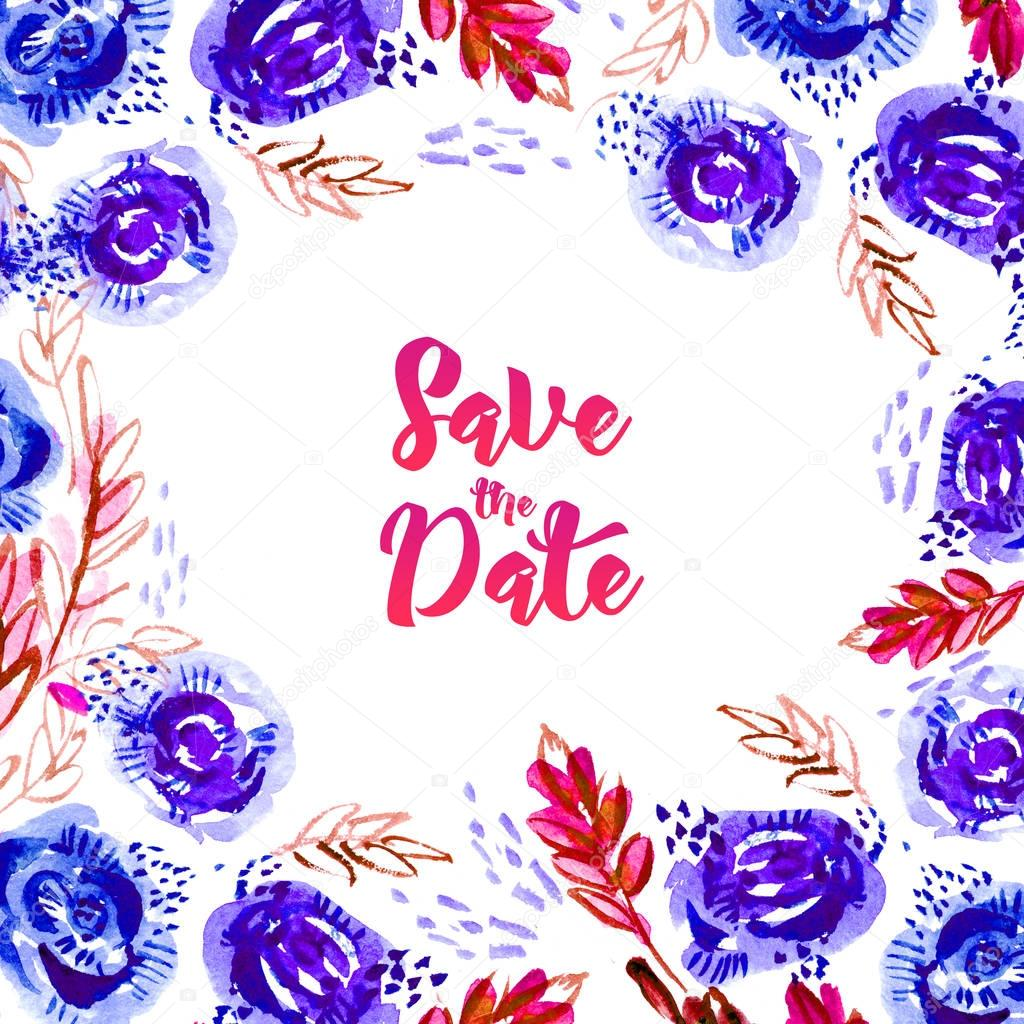 Save this date watercolor.