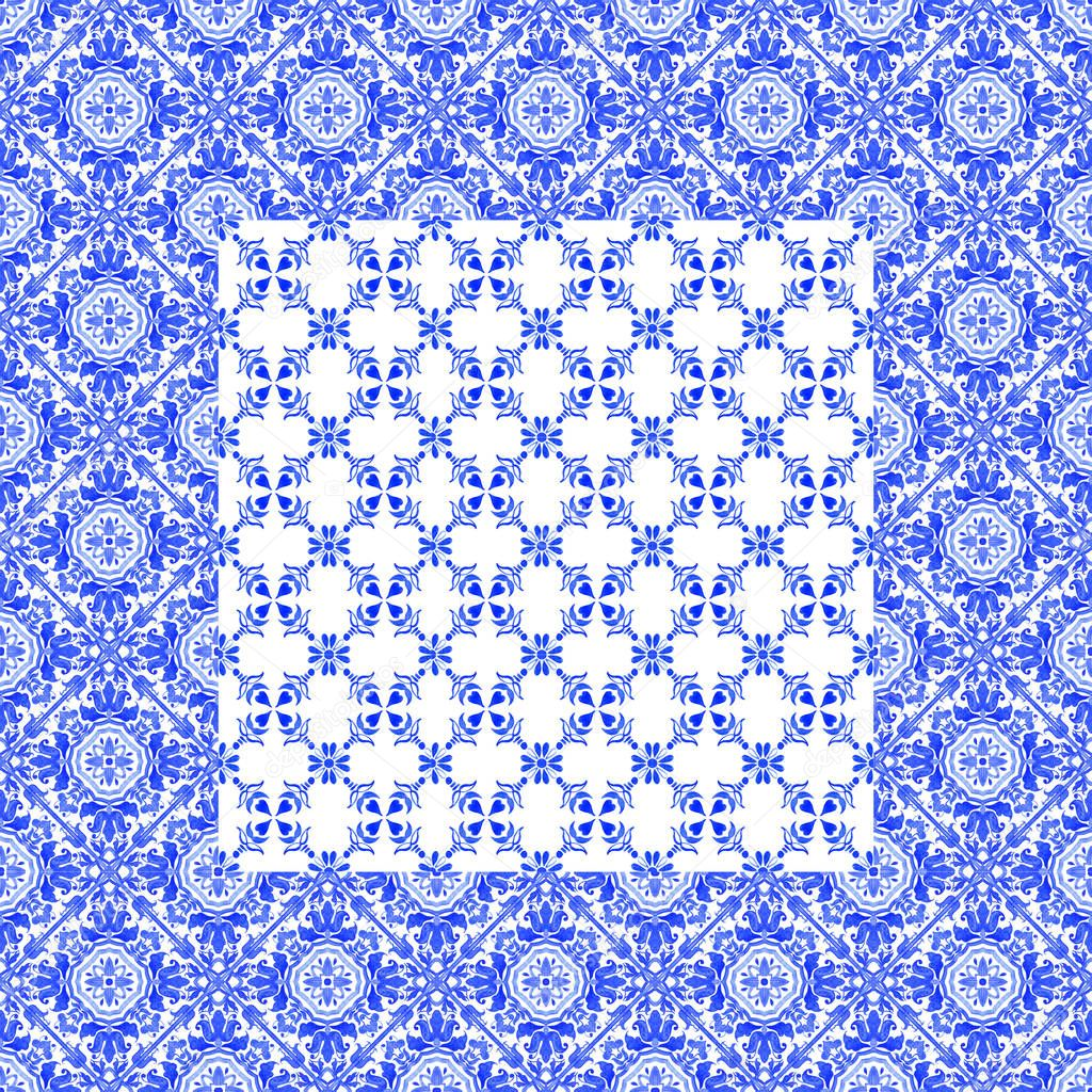 Portuguese azulejo tiles. Watercolor seamless pattern