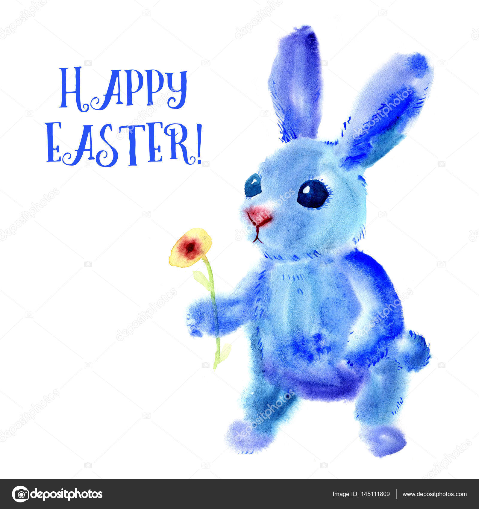 Blue easter bunny watercolor greeting card print stock photo watercolor greeting card print on t shirt bag bag smartphone religious symbol of spring holiday easter photo by belopoppa kristyandbryce Choice Image