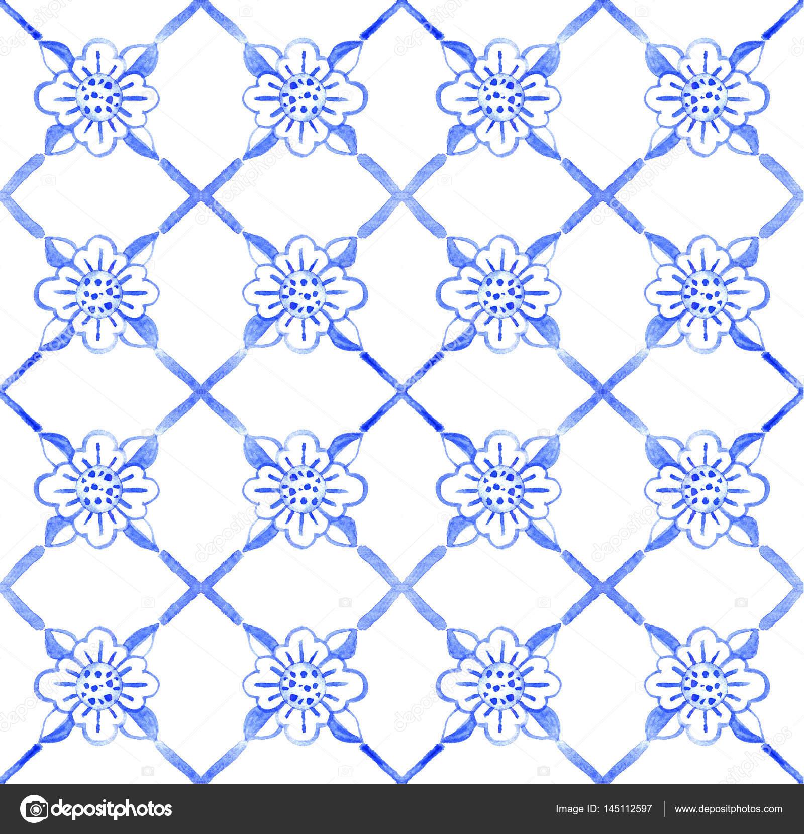 Mosaicos de azulejo portugués. Acuarela de patrones sin fisuras ...