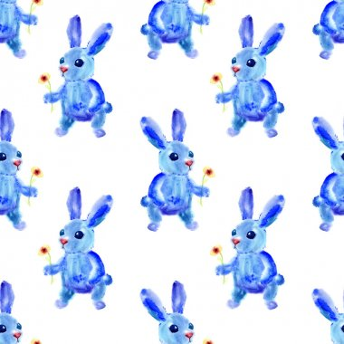 Blue Easter Bunny. Watercolor seamless pattern.