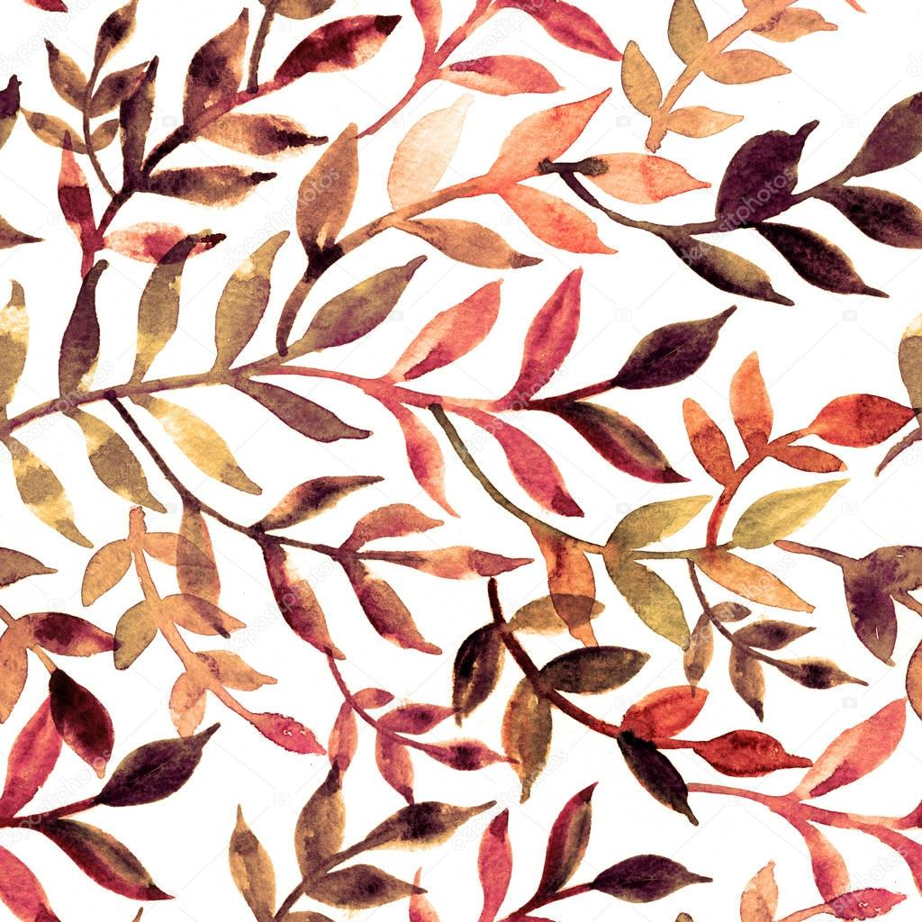 Watercolor seamless pattern leaves and branch.