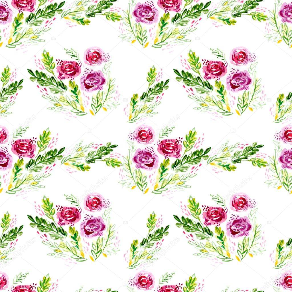 Watercolor flowers, seamless pattern.